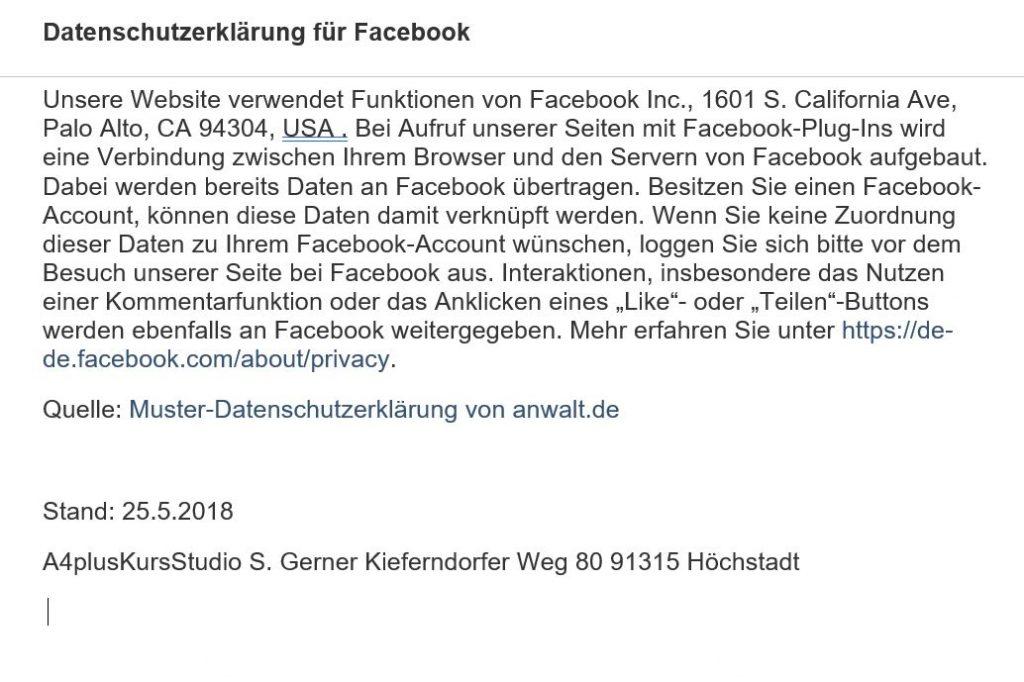 Datenschutzerklärung 26.5.18 Bild 2 Facebook